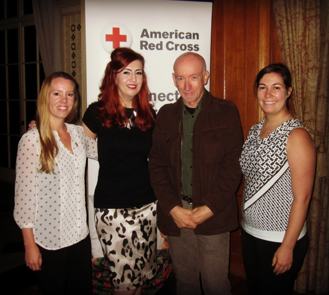 (L to R) AmeriCorps member Kerry K., Kastle, Nigel, Red Cross Communications Team Member Erica C.