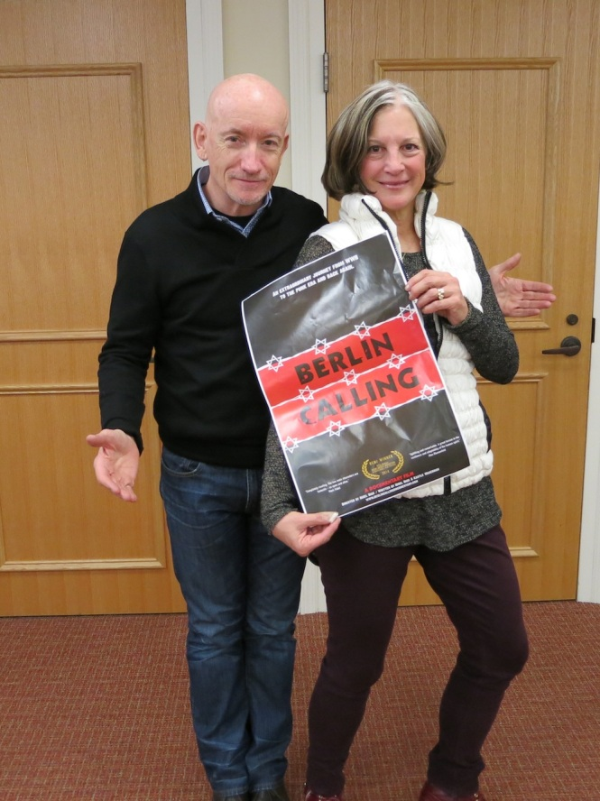 """Berlin Calling"" director Nigel Dick with Harriet Dobin‬, Director of the Hartford Jewish Film Festival‬"